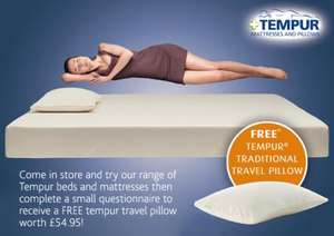 FREE Tempur Travel Memory Foam Pillow RRP £54.95 IN STORE @ most Tempur stockists
