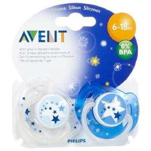Phillips Avent baby glow in the dark dummies 6-18 months twin pack £2 at Asda