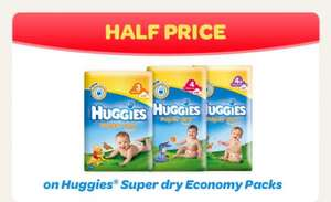 Huggies Nappies all sizes Half Price @ Tesco + many more offerS on nappies and wipes ( use voucher in link to get £2 off per pack making it £2.99 for a economy pack )