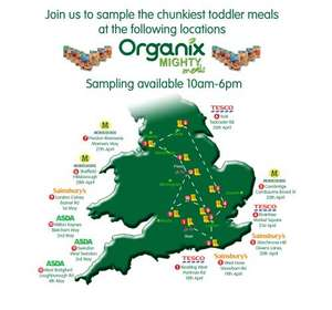 Free sample of Organix toddler meals- see locations on the map