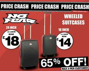 No Fear 4 Wheeled Suitcases 24inch £18 & 18inch £14 online +£3.99 p&p @ SportsDirect.com