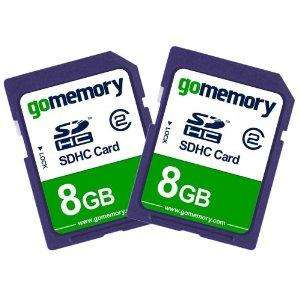 GoMemory 8GB SDHC Memory Card 2-Pack (Class 2), @ Amazon  (GoMemory) - £4.99