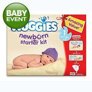 Huggies Newborn Starter Kit - 27 Nappies, 64 Pack Wipes & Hat - £3 @ Asda
