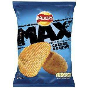 WALKERS MAX 50g Bag Chesse & Onion Crisps Only 20p @ B&M Bargains