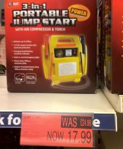 3 in 1 Portable 12v 400amp Jump Start, Air Compressor, Torch Was £24.99 Now £17.99 Instore @ B&M Bargains