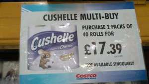 Cushelle Toilet Rolls, 80 rolls for £20.86 (26p per roll) @ Costco