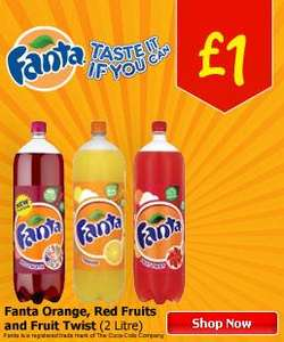 Fanta - 2 Litre bottles - Various flavours - £1 @ Asda
