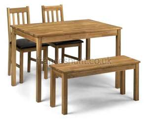 Belstone Solid Oak Dining Table with 2 Chairs + Bench OR  Table + 2 Benches £221.08 Delivered @ Frances Hunt
