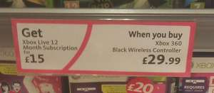 Morrisons - 12 Months Xbox Live + Black Wireless Controller for £44.99