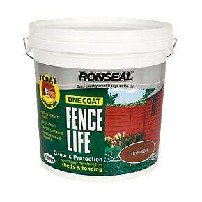 Ronseal Brushable One Coat Fencelife Medium Oak 9Ltr £9.35 @ SCREWFIX branches