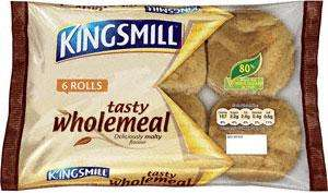 Kingsmill Tasty Wholemeal Rolls (6) 95p now 2 for £1.00 @ Tesco