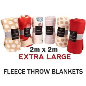 X-Large Fleece Throw Blankets - 2m x 2m - Various Designs for £7.94 Delivered @ brooklyn trading