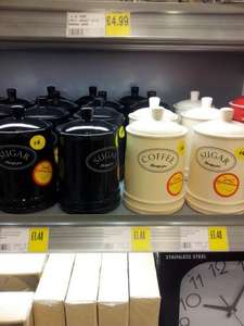 Country Kitchen  Sugar or Coffee Canister/Jar (in  Cream or Black)  £1.48 @ Morrisons