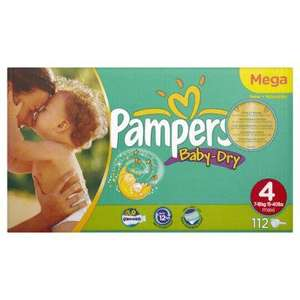 Pampers Baby-Dry Nappies Size 4 MEga Box - 112 Nappies for £10 (£0.089p each) @ Asda Online offer 2 for £20
