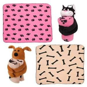 Kids Cuddly Toy & Fleece Blanket - Dog Or Cat from Brooklyn Trading - £3.94 inc del