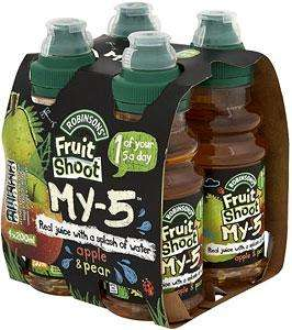 Robinsons Fruit Shoot my-5 apple & pear juice (4 x 200ml) was £1.89 any 2 for £3.00 @  Waitrose and Morrisons