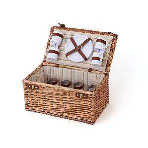 Traditional Wicker Picnic Hamper and 4 Person Set - 4 serving plates, 4 mugs, 4 wine glasses and 12 pieces of cutlery - £20 @ Asda