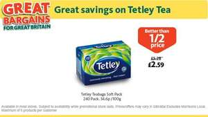 Tetley Tea Bags (240 per pack - 750g) was £5.28 now £2.59 @ Morrisons