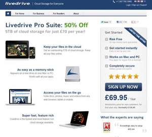 5TB of Livedrive cloud storage for £69.95 (50% off)