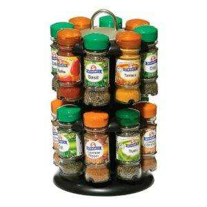 Premier Housewares Pack 16 Bottles Schwartz Spices with Free 2-Tier Spice Rack, Black Chrome Effect - £17.90 @ Amazon