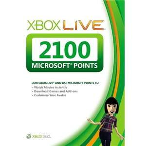 Xbox Live 2100 Microsoft Points Card from £19.99 to £16.99