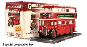 BRIGHT RED RTW LONDON DOUBLE DECKER BUS 1:76 with booklet and poster £1.99 free P&P @ AtlasEditions