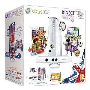 Xbox 360 4GB Console Celebration Pack [inc Kinect Sensor, Wireless Controller, 3 Month Xbox LIVE & 2 games] £189.99 @ Amazon