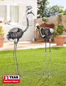 Garden bird ornaments. Lidl quality so should be good!  Chirpy, chirpy, cheap, cheap! £9.99 @ Lidl