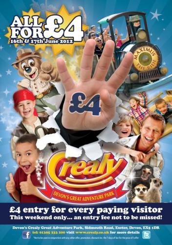 Crealy Devon Cornwall Theme Park Tickets £4 pp