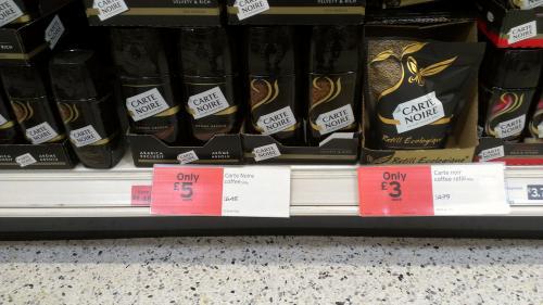 Sainsburys Carte Noire Coffee 200g £5 ---- 150g pouch £3 (=£4 for the jar)