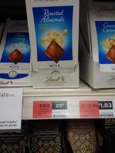Lindt 100g Milk and Almond Chocolate 25p   Sainsburys instore