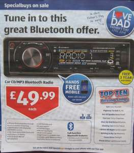 Car CD/MP3 Radio with Bluetooth, USB, SD card - £49.99 @ ALDI from17th June