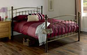 Iceland Wrought Iron Double Bed Frame Antique Brass £100.00 @ Homebase