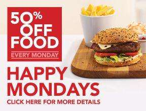 50% off food on Mondays - Happy Mondays @ Slug & Lettuce