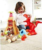 Dino Playset : Big red dino, baby dino with egg and nest, log car, three-part stacking caves with swing, door and tree, 3 cave-people was £38 now £15.20 delivered @ ELC