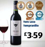 Toro Loco tempranillo award winning red wine just £3.59 at aldi