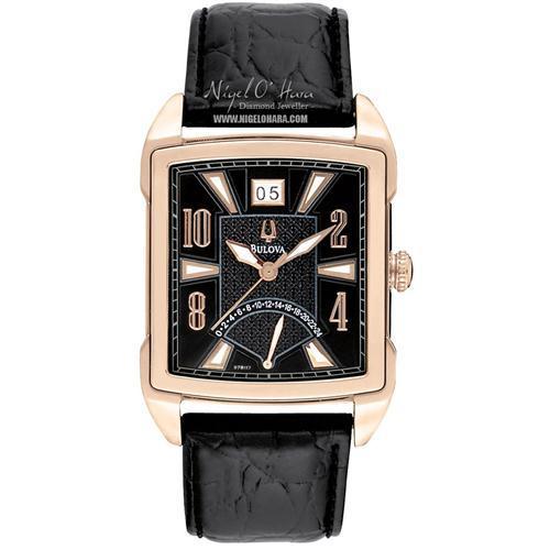 Bulova Men's Rose Gold Tone Leather Strap Watch - 97B117 for £65 @ Nigel Ohara