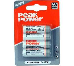Peak Power 1300mAh AA Rechargeable batteries - 4 for 99p Home Bargains