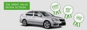 SKODA Octavia £0 VAT & £500 deposit contribution & 3 years free servicing