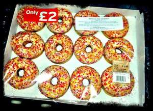12 Iced & Sprinkled Ring Doughnuts £2 @ Sainsburys, & Asda