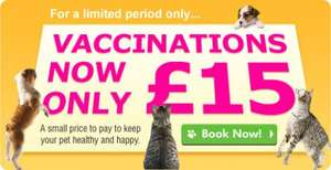 Cat & Dog Vaccinations - £15 @ Vets4Pets