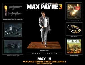 "Max Payne 3 Special Edition (PC) £30 (includes game, 10"" Max Payne statue, soundtrack, art prints, metal keychain, DLC) instore at Grainger Games (RRP £99.99) - £30"