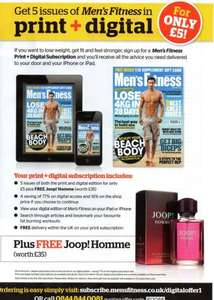 5 issues of Mens Fitness ( print and digital ) & 75ml Joop EDT - £5