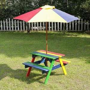 Colourful Kids Wood Picnic Table and Parasol £19.99 at B and M bargains