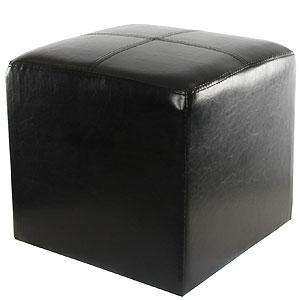 faux leather black footstool £9.99 delivered to store @ Home Bargains