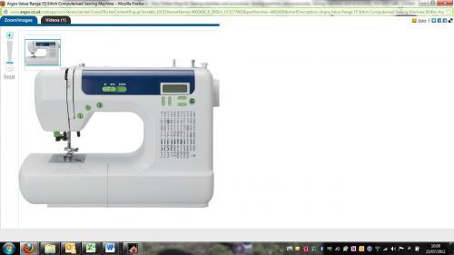 Argos Value Range 75 stitch computerised sewing machine 1/2 price £99.99