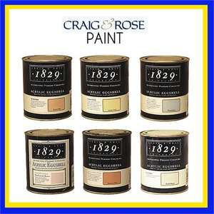 Craig & Rose Paint - Acrylic Eggshell - 750ml Various Colours - £4.94 Delivered @ brooklyn trading