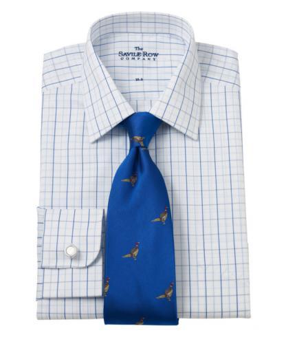 Savile Row Mens English Tattersall Check Classic Fit Shirt Single Cuff £14.99 @ ebay Savile Row