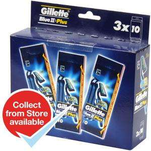 Gillette Blue II Plus Disposable Razors 3x10 Packs (30 Razors) ... £3.99 - Home Bargains