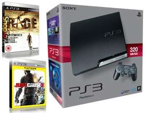 PS3 320GB CONSOLE + RAGE ANARCHY EDITION + JUST CAUSE 2 PLATINUM £192.85 @ Shopto.net
